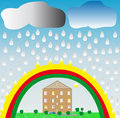 Rainbow Rain Stock Photography