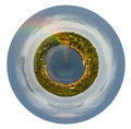 Rainbow in rain during sunshine in baltic sea little planet spherical view of coastline with isolated on white background Stock Photos