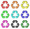 Rainbow of Recycling Symbols Royalty Free Stock Photos