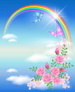 Rainbow and roses Stock Photography