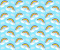 Rainbow seamless pattern. Colorful children`s endless background, repeating texture. Vector illustration.