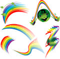 Rainbow set of decorative elements a transparent background Stock Image