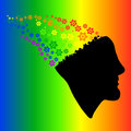 Rainbow silhouette of the head, brain, and cog gears Vector Illu Royalty Free Stock Photo