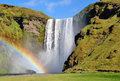 Rainbow at skogafoss iceland scenic waterfall in Stock Photo