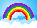 Rainbow sky with clouds cartoon background Royalty Free Stock Photos