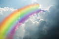Rainbow on sky with clouds close up Royalty Free Stock Photo