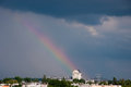 Rainbow small over the city Royalty Free Stock Photography