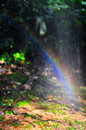 Rainbow through spray of water Royalty Free Stock Images