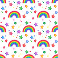 Rainbow and stars Doodle seamless pattern. Royalty Free Stock Photo