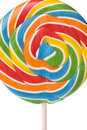 Rainbow Striped Lollipop Candy Stock Image