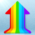 Rainbow stripes realistic plastic vector up arrow icon Stock Photography