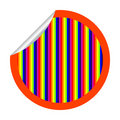 Rainbow stripes sticker isolated on white Stock Image