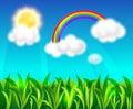 Rainbow, sun and blue sky Royalty Free Stock Photo