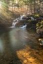 Rainbow Sunlight shinning on Wolf Creek Falls Royalty Free Stock Photo