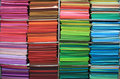 Rainbow of textiles Stock Photography