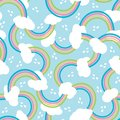 Rainbow texture with clouds and rain drops. Cute seamless pattern, cartoon vector illustration for nursery fabric