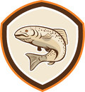 Rainbow trout jumping cartoon shield illustration of a fish set inside crest done in style on isolated background Royalty Free Stock Image