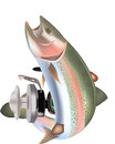 Rainbow trout predatory fish with reel Royalty Free Stock Photo