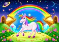 Rainbow unicorn in a fantasy landscape with golden stairs