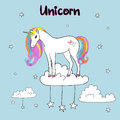 Rainbow unicorn vector illustration.