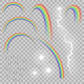 Rainbow water drops lightning and flares set. Realistic weather effects. Royalty Free Stock Photo