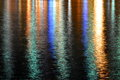 Rainbow on the water lights from city are settling down for a fine image Royalty Free Stock Photo