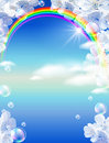 Rainbow and white flowers Royalty Free Stock Photo