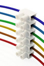 Rainbow wires & connector Royalty Free Stock Photo