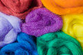 A Rainbow Of Colors of Wool Roving & Batting Royalty Free Stock Photo