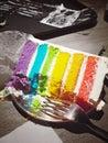 Rainbow yummy cake Royalty Free Stock Photo