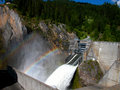 Rainbows above boundary dam two appear washington state s Stock Image