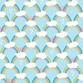 Rainbows with clouds and rain drops. Cute seamless pattern, cartoon vector illustration for nursery fabric, background