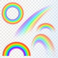 Rainbows in different shape realistic set on transparent background isolated vector illustration Stock Photos