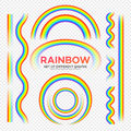 Rainbows different shape set. Real Rainbow transparency effect.  Vector illustration Royalty Free Stock Photo