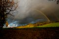 Rainbows double landscape in cyprus durring winter time Royalty Free Stock Photography