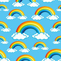Rainbows pattern for seamless background and clouds Stock Image