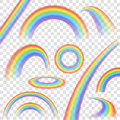 Rainbows transparent set in different shape realistic on background vector illustration Royalty Free Stock Photography