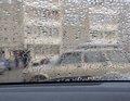 Raindrops on the car window in rainy season Royalty Free Stock Photos