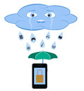 Raining cloud illustration of a and i protecting a mobile Stock Images