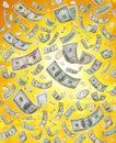 Raining or Falling American Money Royalty Free Stock Photo