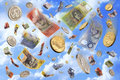 Raining Falling Australian Money Dollars Royalty Free Stock Photo