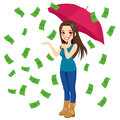 Raining money bills beautiful brunette woman holding big umbrella happy seeing Royalty Free Stock Images