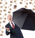 Raining money man in suit with umbrella concept of getting better raning Royalty Free Stock Photography
