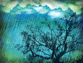 Raining sky.Grunge nature background Stock Photos