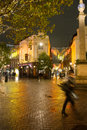 Rainy autumn evening in seven dials london people rushing through the rain at close to covent garden on a dark Stock Photos