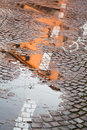 Rainy autumn puddle Stock Image