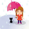 Rainy day cat and girl Royalty Free Stock Photo