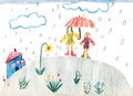 A rainy day children drawing mother and daughter under umbrella Royalty Free Stock Photos