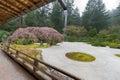 Rainy Day at Japanese Flat Garden Royalty Free Stock Photo
