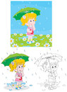 Rainy day little girl with an umbrella under rain Stock Photo